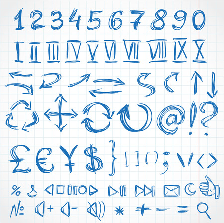 numerals: Handwritten icons and numerals from rough pencil strokes  On of exercise book in cell