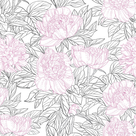 Seamless pattern of pink flowers peonies graphics