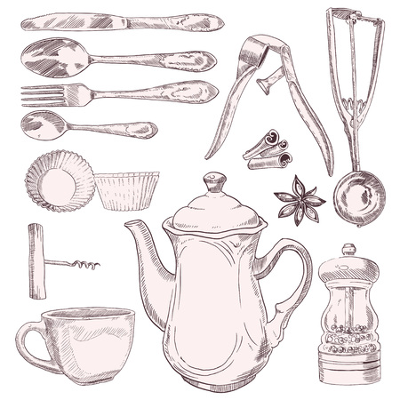 A cup of tea and vintage kitchen utensils isolated on white background Vector