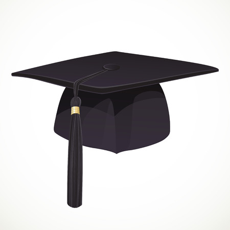 Black Academic hat with a tassel 1 isolated on white background Vector