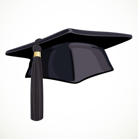 Black Academic hat with a tassel 2 isolated on white background Illustration