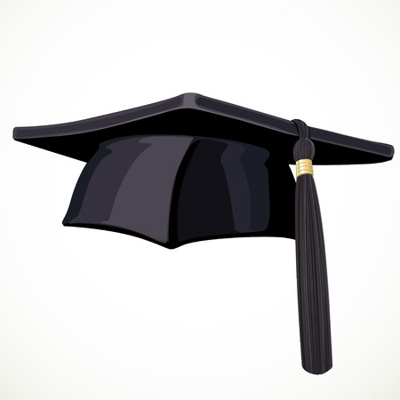 high hat: Black Academic hat with a tassel 3 isolated on white background Illustration