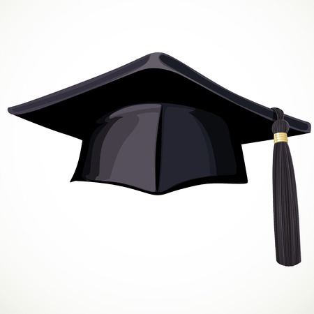 doctorate: Black Academic hat with a tassel 4 isolated on white background