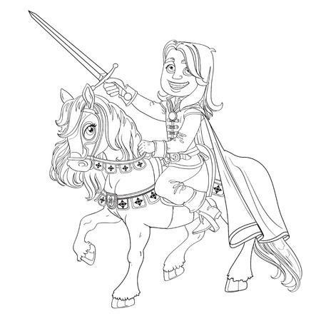 Encanto En Un Caballo Blanco Listo Para Prince Hazañas Ilustraciones ...