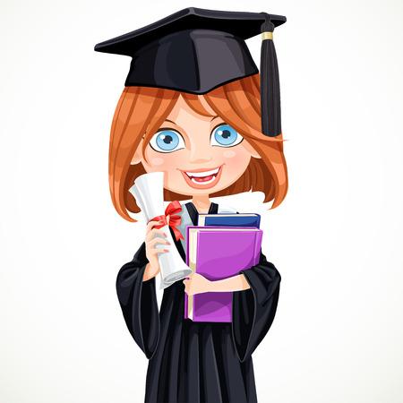 colleges: Linda chica en la tapa y vestido graduado que sostiene un diploma de desplazamiento y libros escolares
