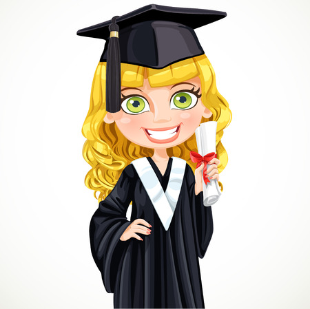 collegiate: Cute girl in cap and gown graduate holding a scroll diploma Illustration