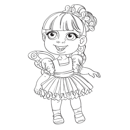 Cute little girl in tutu and wings outlined Vector