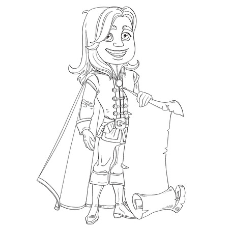 a charming: Cute prince with a scroll of parchment for your banner outlined