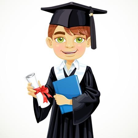 졸업장 및 교과서를 들고 귀여운 학생 소년