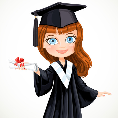 Diploma graduating cute student girl vector illustration Vector