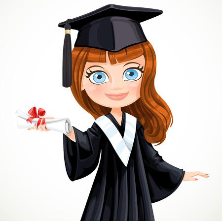 graduacion de universidad: Diploma que gradúa lindo ilustración vectorial chica estudiante Vectores