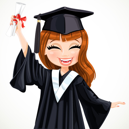 college girl: Diploma graduating happy student girl vector illustration