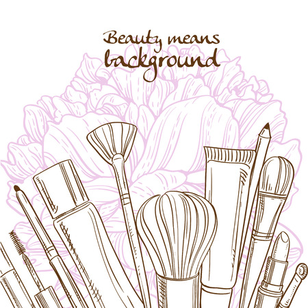 blush: Doodles of cosmetic means on pink peony flower background