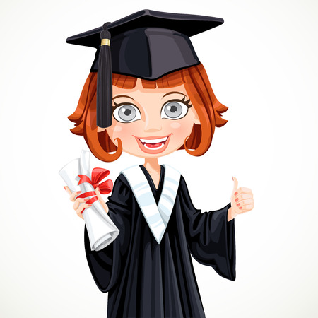 Girl in cap and gown graduate holding a scroll diploma Vector