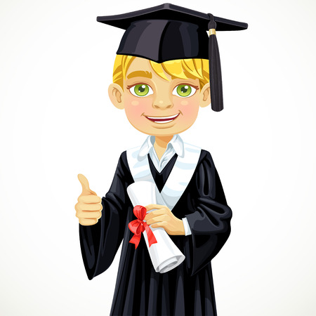 Happy student blond boy holding a diploma Vector