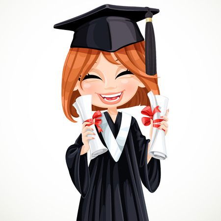 Happy student girl holding two diplomas vector Vector