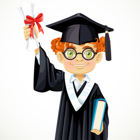 graduation gown: Happy student redhead boy in glasses holding a diploma and book