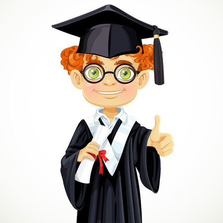 Happy student redhead boy in glasses holding a diploma Vector