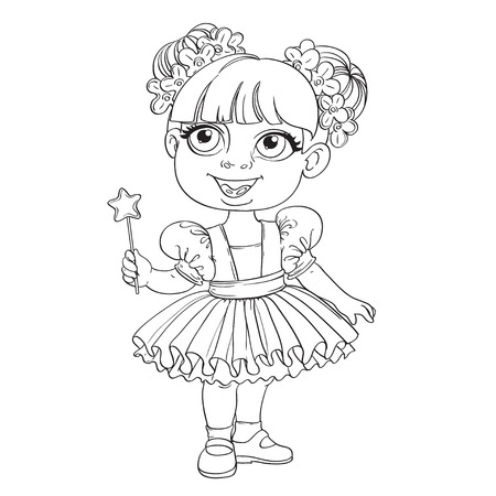 Little girl in ballet tutu and magic wand outlined Vector