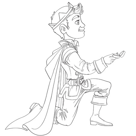 Prince Charming was on my knees asking the marriage outlined Illustration