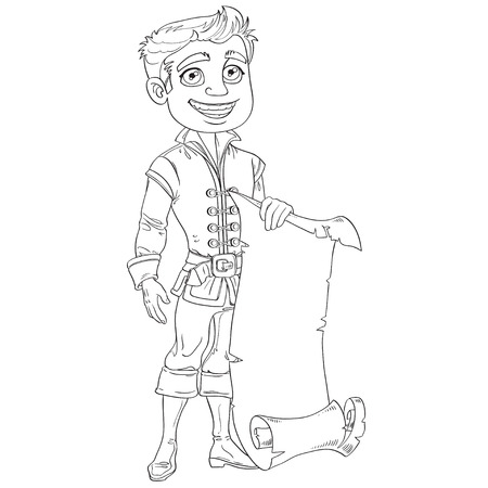 a charming: Prince with a scroll of parchment for your banner outlined Illustration