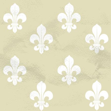 Seamless grungy vintage pattern from Fleur-de-lys Vector