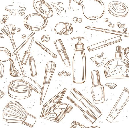 Naadloze patroon van doodles van cosmetische crème, lippenstift, poeder, oogschaduw