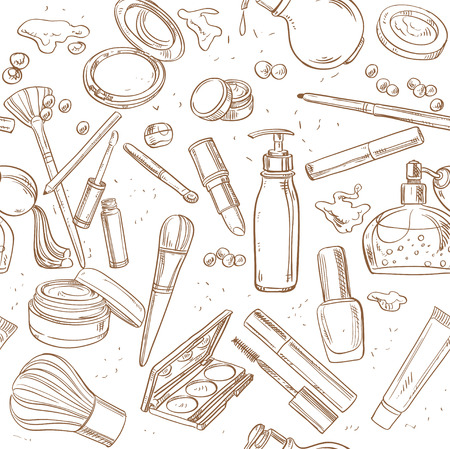 Seamless pattern from doodles of cosmetic cream, lipstick, powder, eye shadow