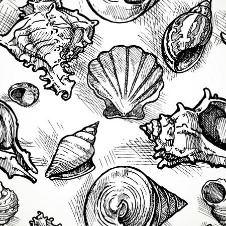 Naadloze patroon van de schetsen van verschillende vormen shell