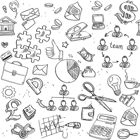 Seamless pattern of black doodles on business theme 2 Vector