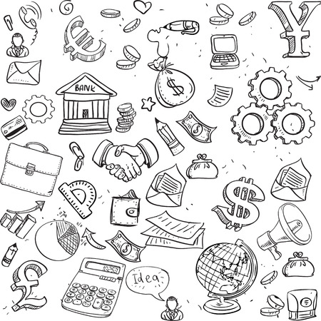 Seamless pattern of black doodles on business theme 3 Vector