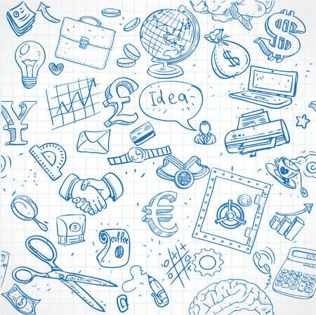 Seamless pattern of blue doodles on business theme 1 Vector