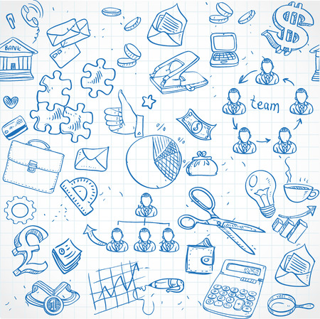 Seamless pattern of blue doodles on business theme 2 Vector