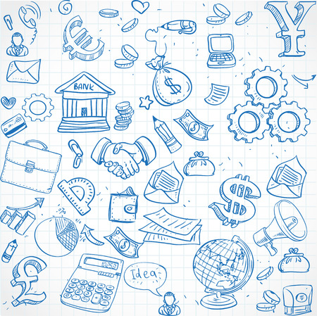 Seamless pattern of blue doodles on business theme 3 Vector