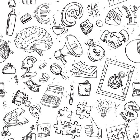 Seamless pattern of doodles on business and money theme Vector