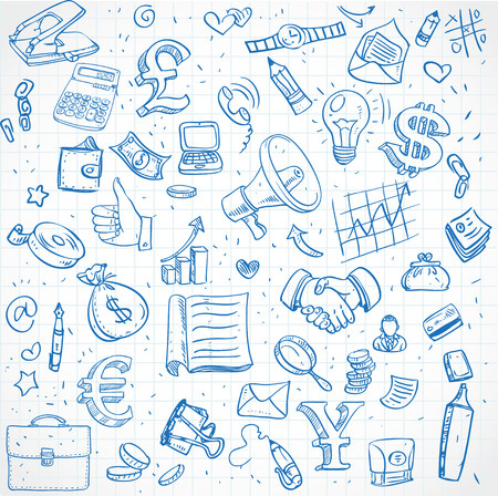 Seamless pattern of doodles on business theme Vector