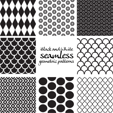 Set of black and white seamless geometric patterns 5 Vector