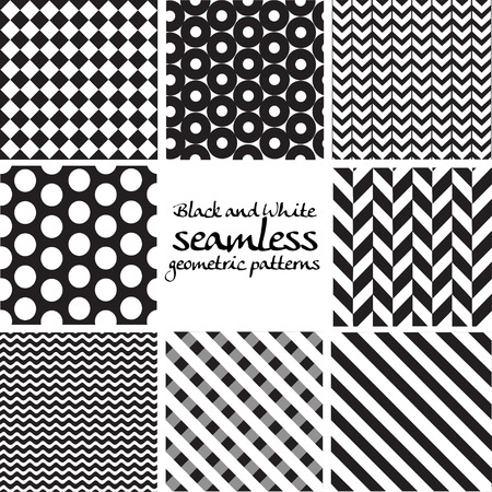 Set of black and white seamless geometric patterns Vector