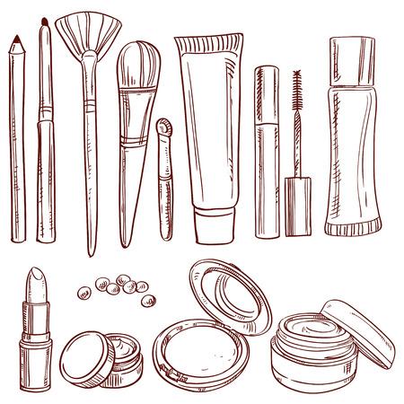 Set of doodles on cosmetics pencil, brush, blush, lipstick, mascara Vectores