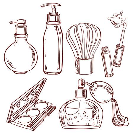 Set of doodles on cosmetics shadow brush, perfume, lipstick Vectores
