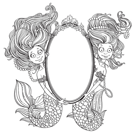 Two lovely mermaid with flowing long hair holding a big mirror outlined Vector