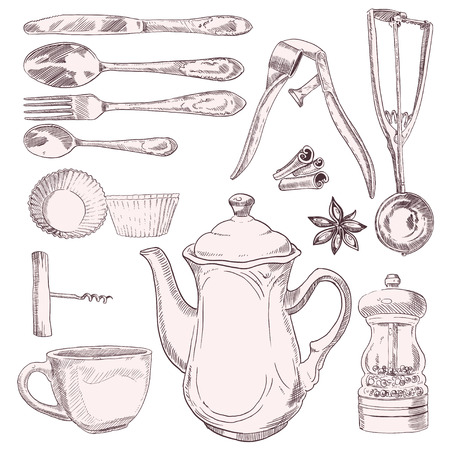 baking dish: A cup of tea and vintage kitchen utensils isolated on white background Illustration