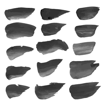 Abstract realistic strokes painted with black paint isolated on a white background 1 Vector