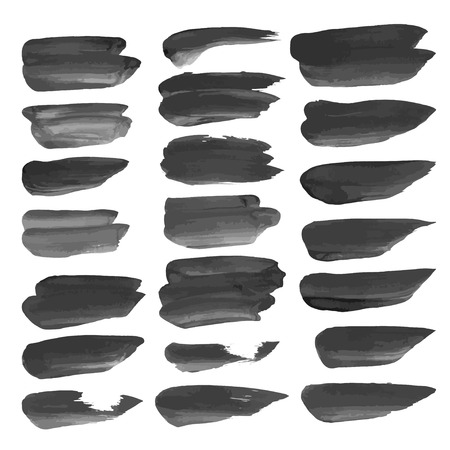 streak: Abstract realistic strokes painted with black paint isolated on a white background