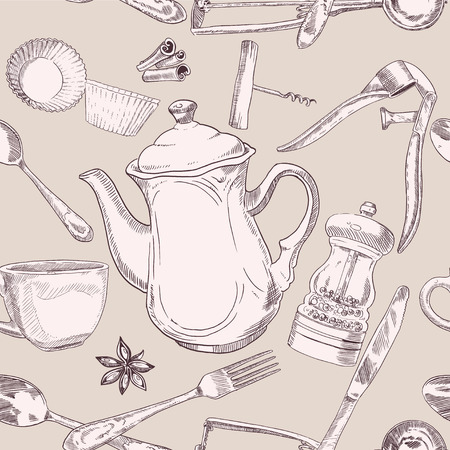 Beige seamless pattern of kitchen utensils vintage