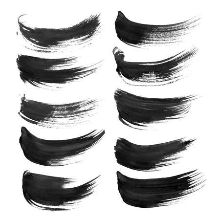 Black strokes painted with paint on white background 1 Vectores