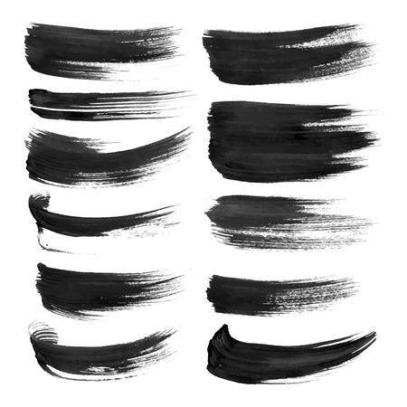 Zwarte lijnen geschilderd met verf op een witte achtergrond Stock Illustratie