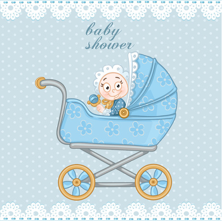 Blue baby carriage for newborn baby shower card