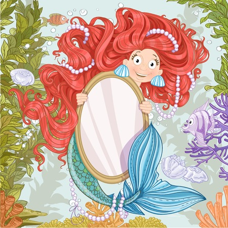 Cute mermaid with flowing long hair holding a big vertical mirror on coral reef background Vector