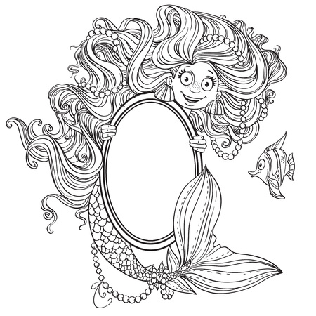 Cute mermaid with flowing long hair holding a big vertical mirror outlined Vector